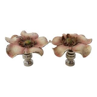 Vintage Pink Tole Flower Finials- A Pair