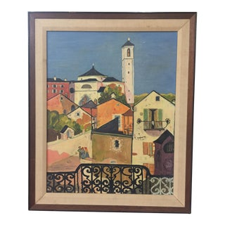 Vintage Framed Original Painting Colorful European Village