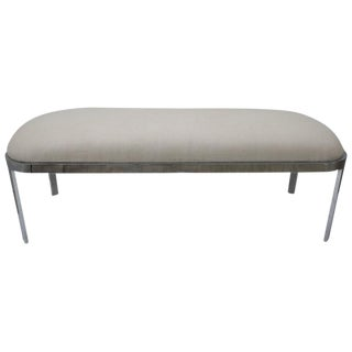 D.I.A. Polished Chrome and Cream Upholstery Race-Track Form Bench