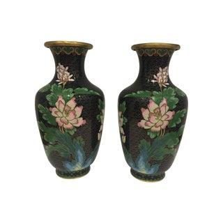 Black & Pastel Peonies Cloisonné Vases - A Pair