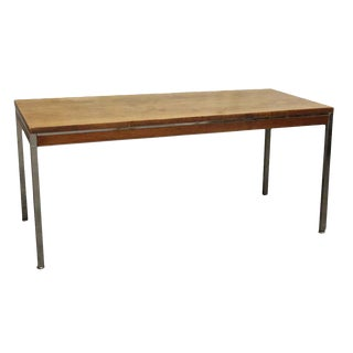 Long Wood Table With Chrome Frame
