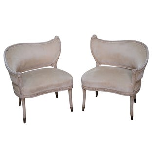Vintage Paint Frame Regency Fire Side Chair - Pair