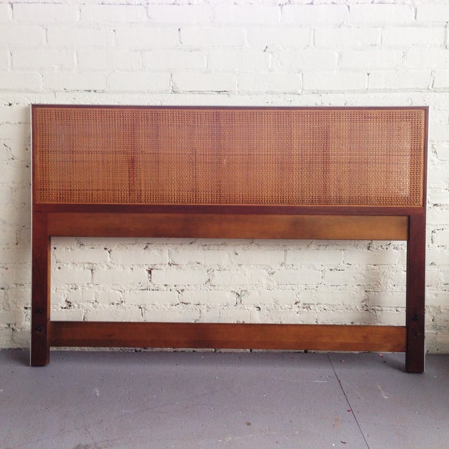 Walnut and Caned Full Headboard - Image 2 of 6