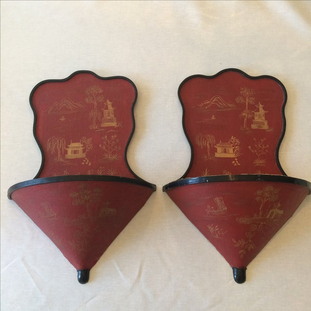 Image of Vintage Chinoiserie Wall Planter and Shelf - Pair