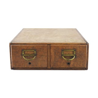 Dovetail Oak Library Card Catalog Box
