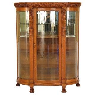 Antique Oak & Serpentine Glass Griffin Cabinet