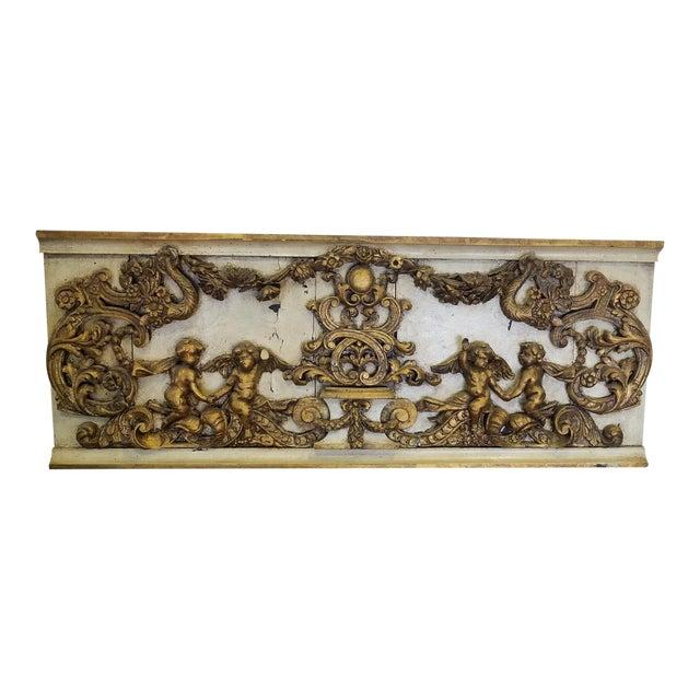 Antique Italian 19th Century Carved Wood Gilded Cherub Putti Panel - Image 1 of 11