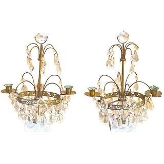 Antique Crystal & Brass Girandoles - A Pair