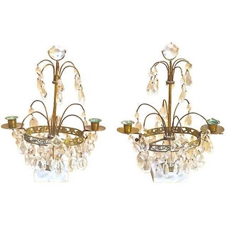 Antique Crystal & Brass Girandoles - A Pair