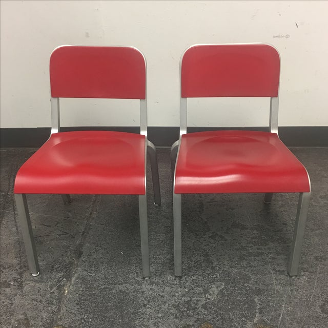 1951 Design Within Reach Emeco Red Chairs - A Pair - Image 2 of 8