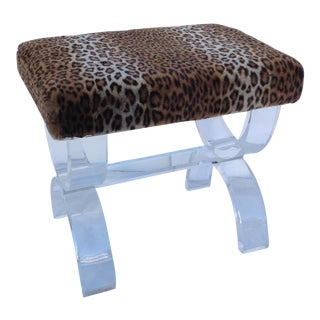 Lucite Bench With Pierre Frey Faux Fur Leopard