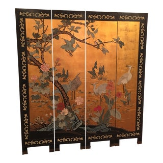 Antique Chinese Coromandel Gold Leaf Screen