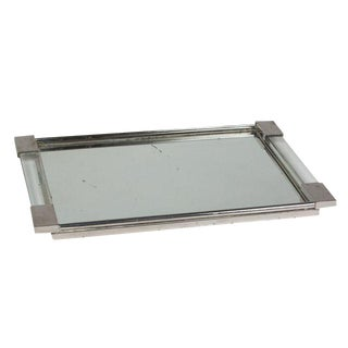 Nickel Frame Mirrored Serving Tray, French, 1930s
