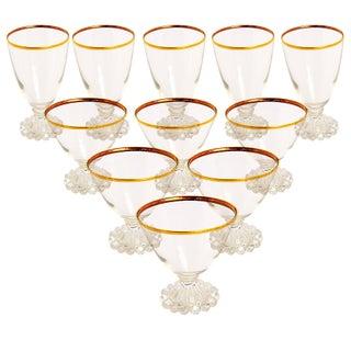 Gold Edge Vintage Glasses - Set of 11