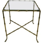 Hollywood Regency Style Brass Faux Bamboo Table