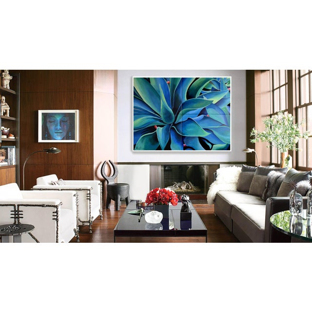 'Silver Blue Agave' Acrylic Painting - Image 4 of 9