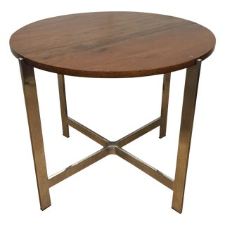 Round Wood Side Table with Chrome Base