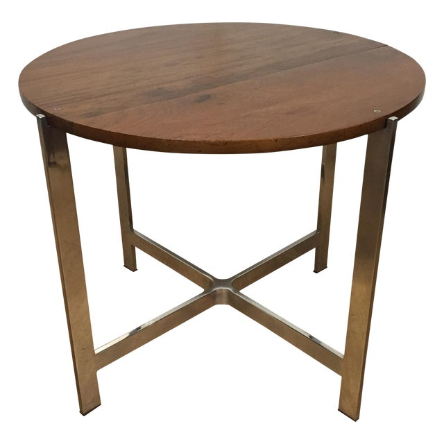 Round wood side table with chrome base chairish