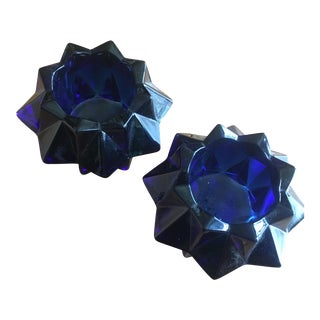 Cobalt Blue Art Glass Starburst Candle Holders - A Pair