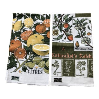 Vintage Pure Linen Citrus Theme Tea Towels - a Pair