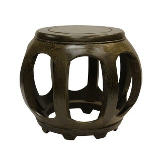 Chinese Chicken Feather Wood Round Barrel Stool
