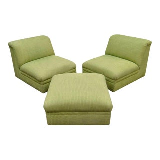 Pair of Contemporary Green Slipper Lounge Living Room Chairs & Ottoman Modern