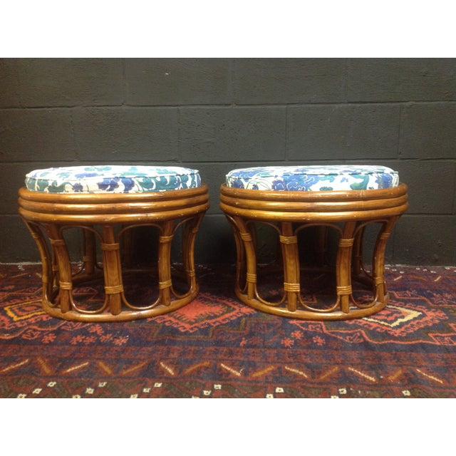 Vintage Bamboo Ottomans - A Pair - Image 2 of 7