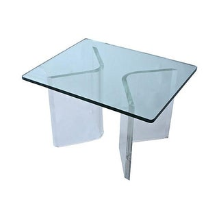 Lucite & Glass Top Side Table