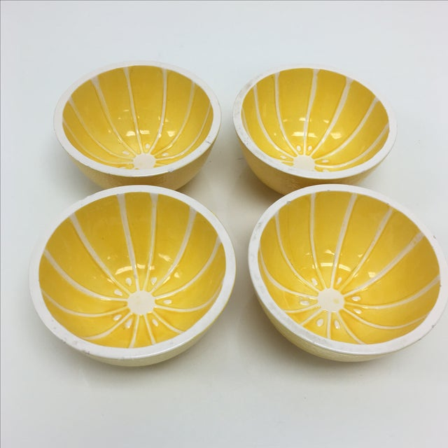 Vintage Yellow Grapefruit Bowls - Set of 4 - Image 2 of 10