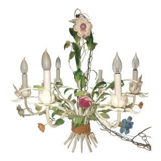 Vintage Italian Floral Tole Chandelier