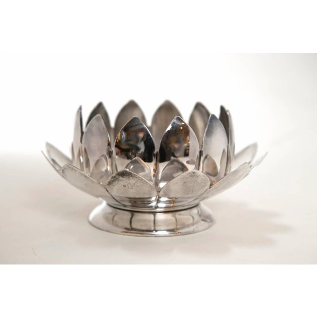 Mid-Century Silver Lotus Flower Holders by Reed and Barton - Image 7 of 8