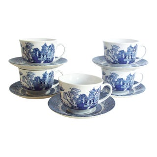 Blue Willow Teacups & Saucers - Set of 5