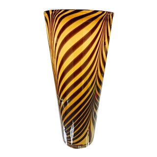 Italian 1950s Dino Martens Mid-Century Modern Zebra Art Glass Vase