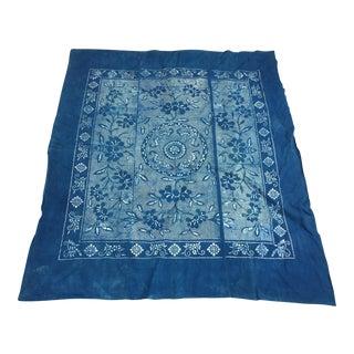 Antique Indigo Batik Bed Cover Panel W/ Bats