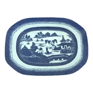 Chinese Blue Canton Hand-Painted Platter