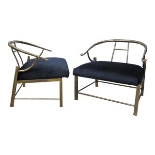 Pair of Asian Inspired Brass Lounge Chairs, USA 1970s