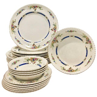 "Antique English Johnson Brothers Porcelain English ""Eastbourne"" Dinnerware - Set of 21"