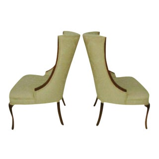 Hollywood Regency High Back Wing Chairs - A Pair