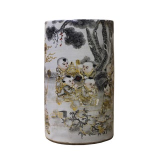 Chinese Scenery Cylindrical Ceramic Pen Holder