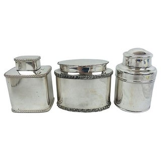 English Silver-Plate Tea Caddies - Set of 3
