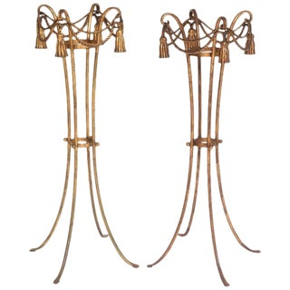 Hollywood-Regency Style Gold Rope & Tassel Jardinière Stands- A Pair