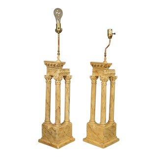 Neoclassical Grand Tour Sienese Temple Model Table Lamps - A Pair