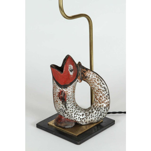 Image of Fish Shaped Folk Art Pitcher Lamp