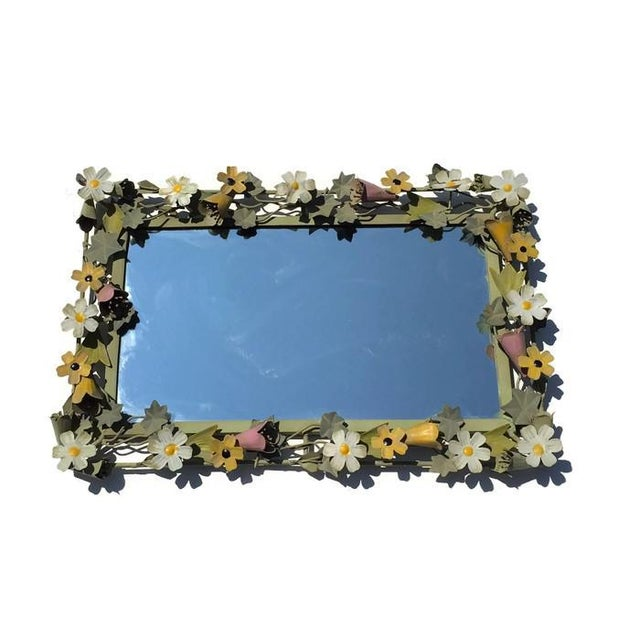 Vintage French Metal Tole Ware Flower Mirror - Image 3 of 6