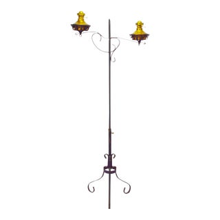Early P&A Plume and Atwood Adjustable Wrought Iron Double Oil Lamp Floor Stand Piano Floor Lamp
