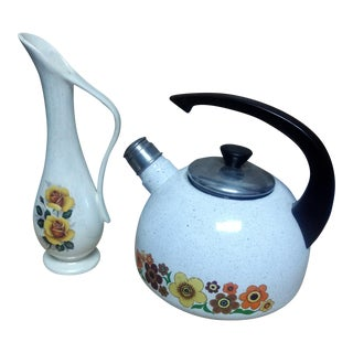 Vintage 70s Teapot & Pitcher - A Pair