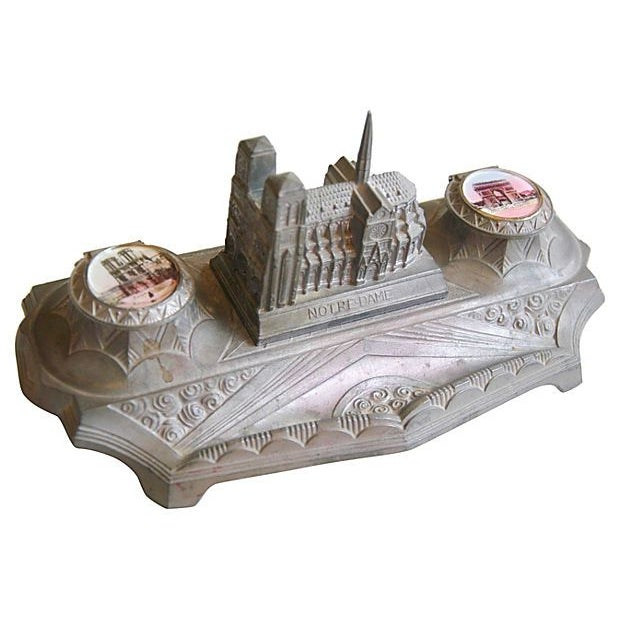 1930s French Iconic Historic Sites Inkwell - Image 6 of 9