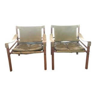 1970s Swedish Arne Norell Green Leather and Rosewood Safari Chairs - a Pair