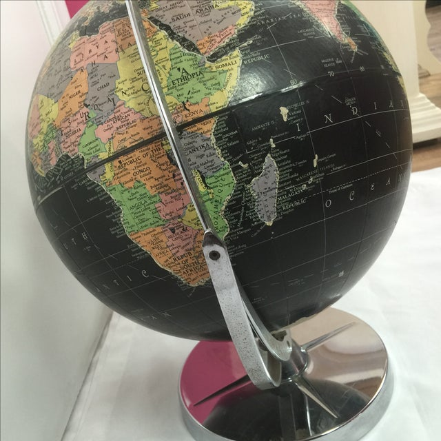 Vintage Black World Globe with Silver Stand - Image 4 of 7
