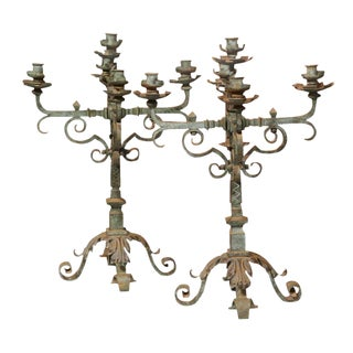 18th Century French Iron Candelabras With Original Verdigris Finish - A Pair